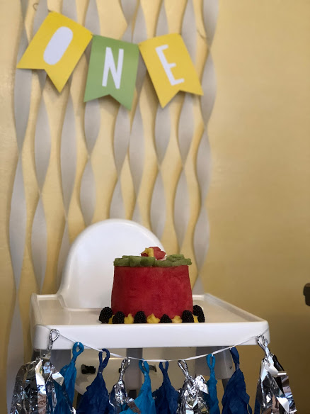 """birthday fruit """"cake"""" with decorations for holiday tradition"""