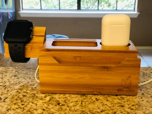 valentines day gift ideas bamboo charging station with apple watch and AirPods